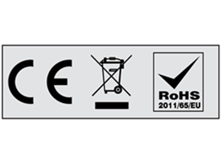 CE, WEEE and RoHS symbol labels.