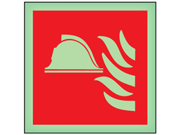 Fire point symbol photoluminescent safety sign