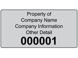 Assetmark tamper evident serial number label (black text), 38mm x 76mm