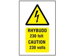 Rhybudd 230 folt, Caution 230 volts. Welsh English sign.