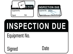 Inspection due jumbo write and seal labels.
