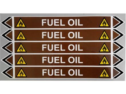 Fuel oil flow marker label.