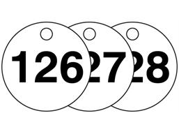 Plastic valve tags, numbered 126-150