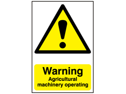 Warning, Agricultural machinery operating safety sign.