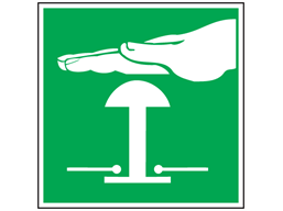 Emergency stop symbol safety sign.