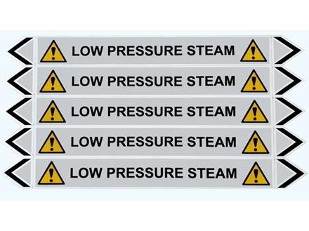 Low pressure steam flow marker label.