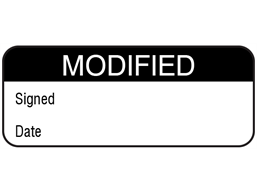 Modified maintenance label.