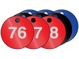 Coloured aluminium valve tags, numbered 76-100