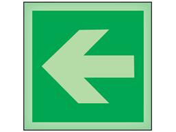 Horizontal arrow left symbol photoluminescent safety sign