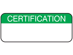 Certification maintenance label.