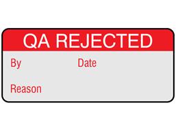 QA rejected aluminium foil labels.