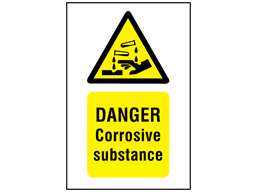 Danger corrosive substance symbol and text safety sign.