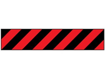 Laminated warning tape, black and red chevron.