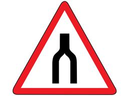 Road narrows to single lane sign