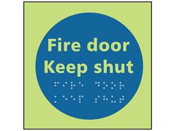 Fire door keep shut photoluminescent sign.