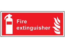 Fire extinguisher symbol and text safety sign.