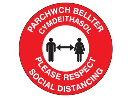 Please respect social distancing (bilingual Welsh/English)