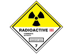 Radioactive 111, class 7, hazard warning diamond label, magnetic