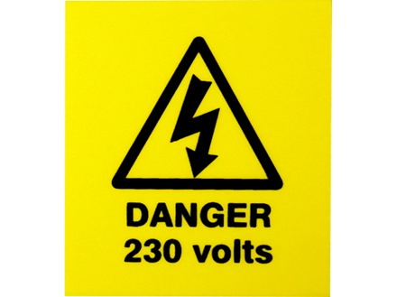 Danger 230 volts label