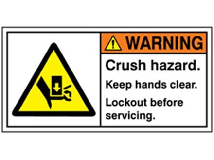 Warning crush hazard keep hands clear lockout label