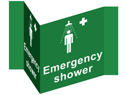 Emergency shower projecting safety sign.