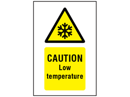 Caution Low temperature symbol and text safety sign.