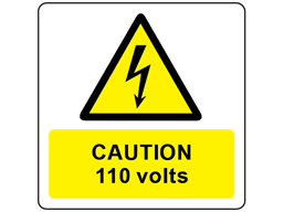 Caution 110 volts symbol and text safety label.