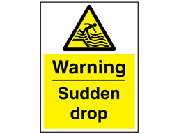 Warning sudden drop sign.