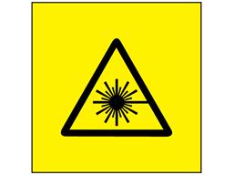 Laser equipment warning symbol safety label.