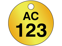 Custom circular brass valve tag black lettering
