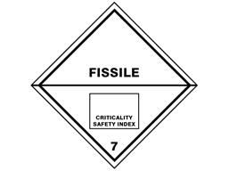 Fissile 7 hazard warning diamond sign
