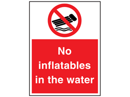 No inflatables in the water sign.