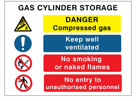 Gas cylinder storage safety symbol and text sign.