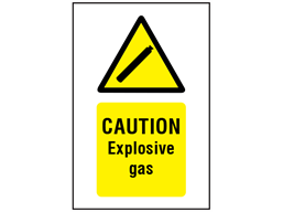 Caution explosive gas symbol and text safety sign.
