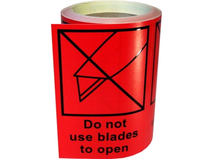 Do not use blades to open transit label