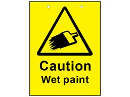 Caution wet paint sign.