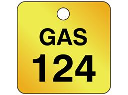 Custom square brass valve tag black lettering