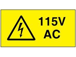 115V AC Electrical warning label