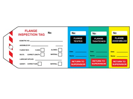 Flange inspection tag (four part) with serial number.