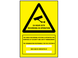 24 hour CCTV recording in operation sign