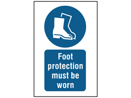 Foot protection must be worn symbol and text safety sign.