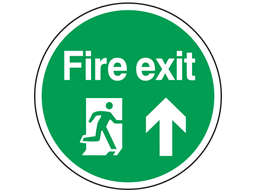 Fire exit symbol and text floor graphic marker.