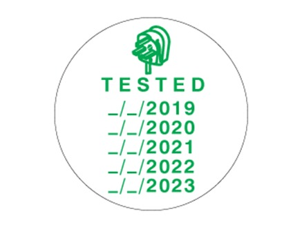 Tested label with annual test dates.