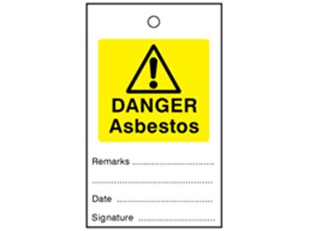 Danger asbestos tag.