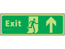 Exit arrow up photoluminescent sign.