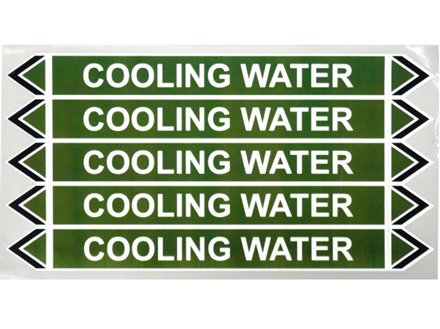 Cooling water flow marker label.