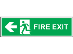 Fire exit arrow left symbol and text safety sign.