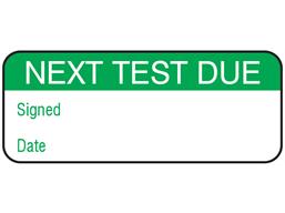 Next test due maintenance label.