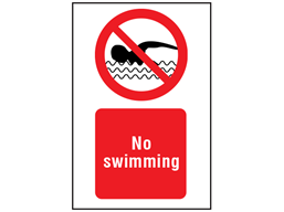 No swimming symbol and text safety sign.