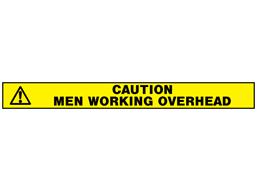 Caution men working overhead barrier tape